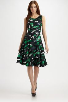 Oscar de la Renta Koi-print Silk Dress - Lyst