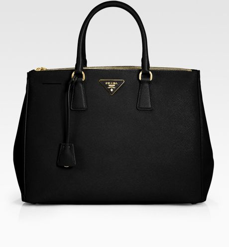 Prada Saffiano Lux Double-zip Tote Bag in Black - Lyst