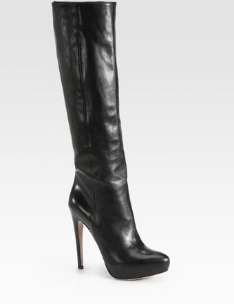 Prada Tall Leather Platform Boots - Lyst