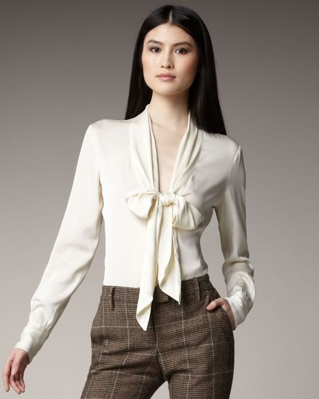 Women'S White Blouse With Tie 85