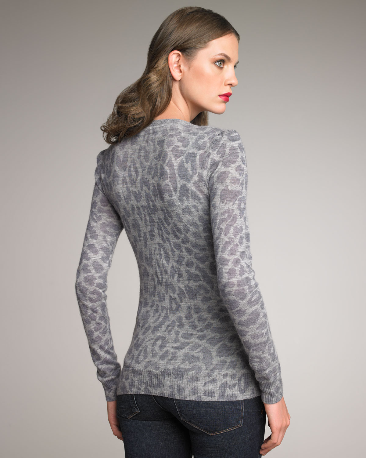 Rebecca taylor Cloud Leopard-print Cardigan in Gray | Lyst