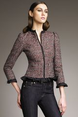 RED Valentino Ruffle-trim Boucle Jacket - Lyst