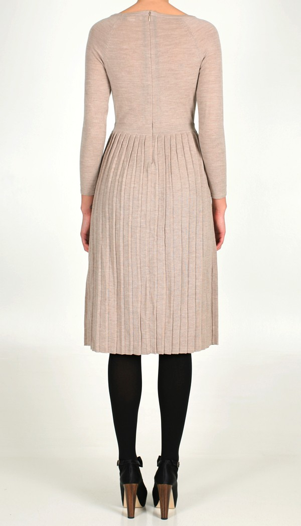 Tibi Pleated Merino Wool Sweater Dress in Natural