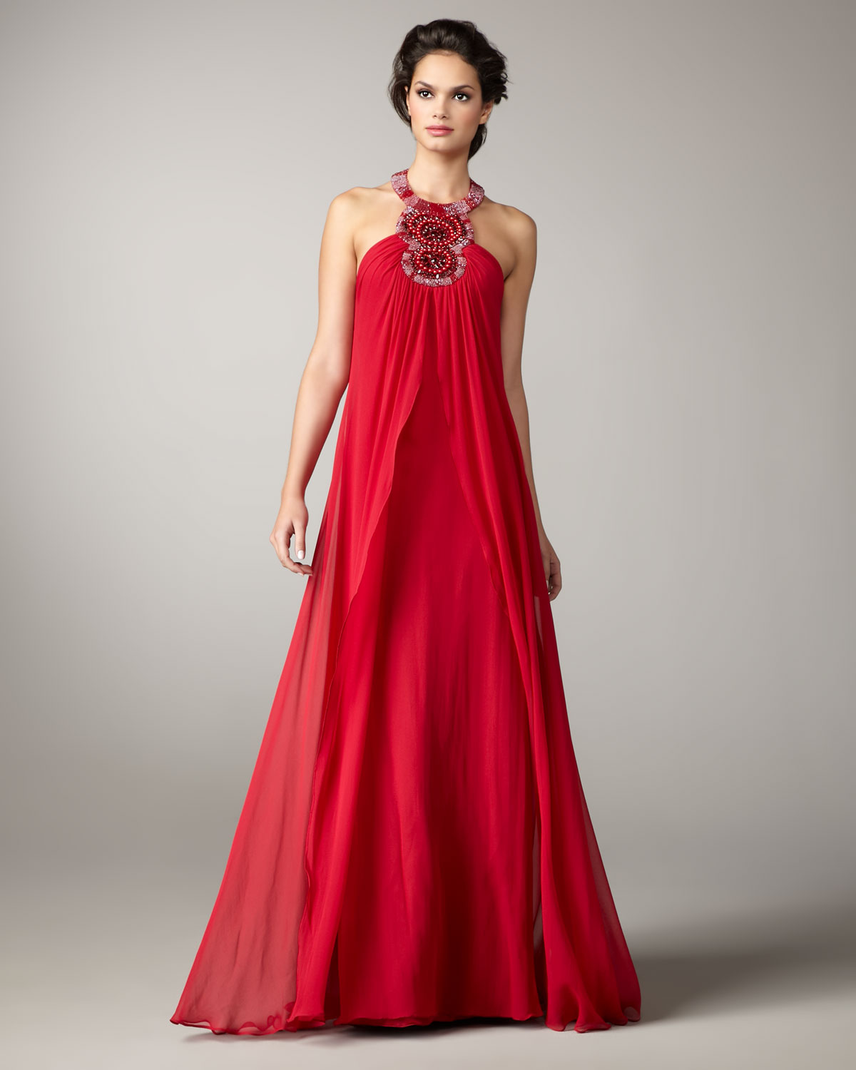 Lyst - Aidan Mattox Beaded-halter Flowy Gown in Red