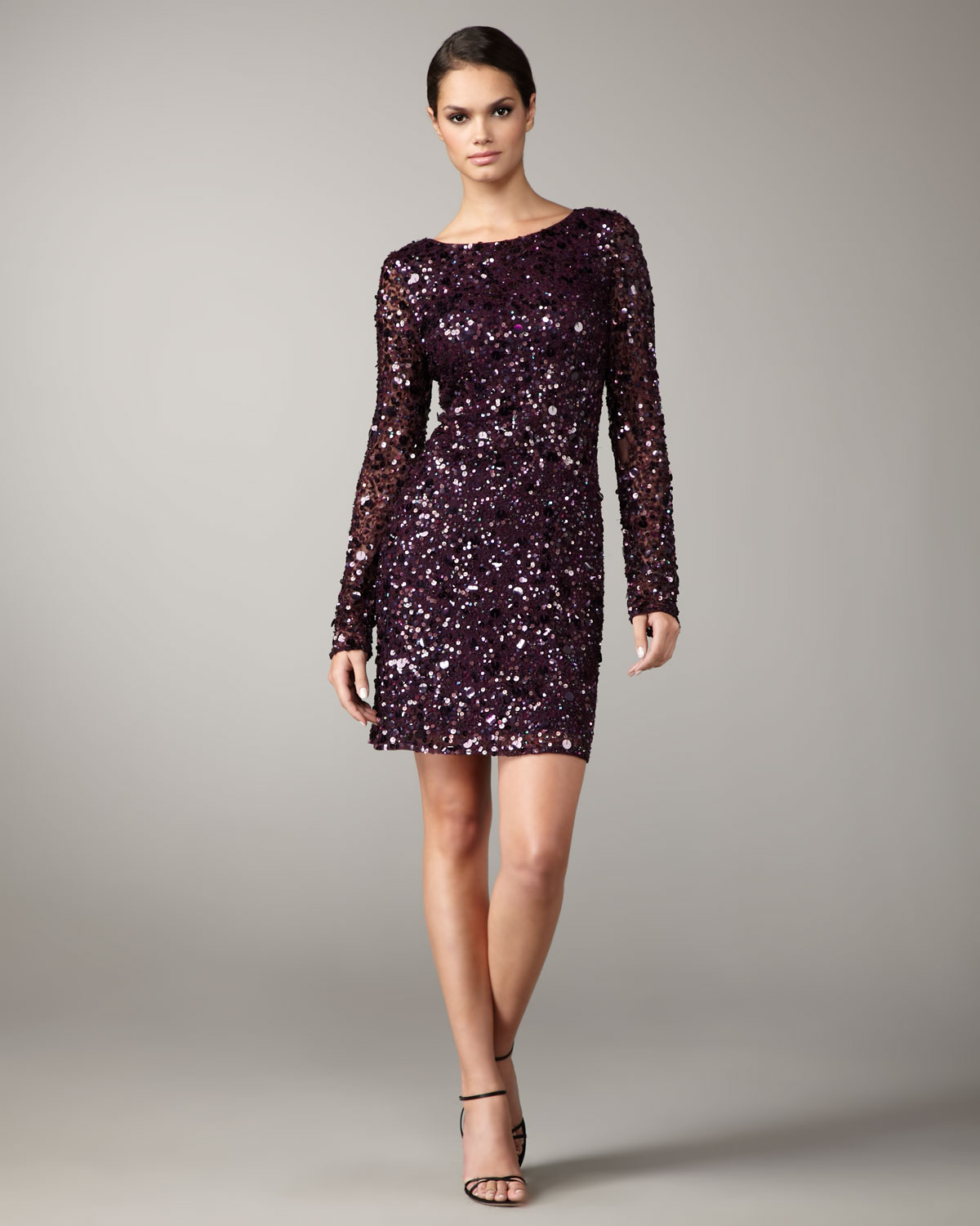 d84a7804e11 Aidan Mattox Long-sleeve Sequined Shift Dress in Purple - Lyst
