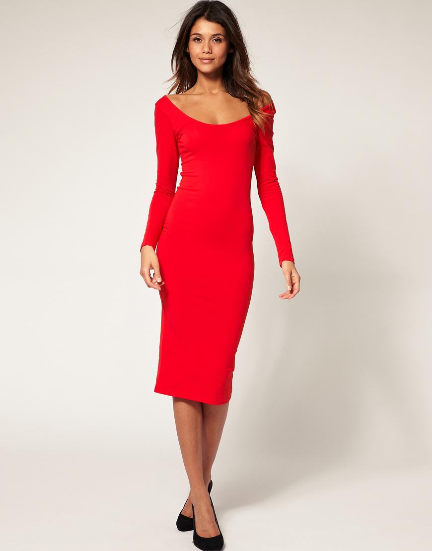 Bodycon dress long sleeve red pattern