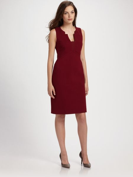 Elie Tahari Cutout Neckline Shift Dress in Purple (berry) - Lyst