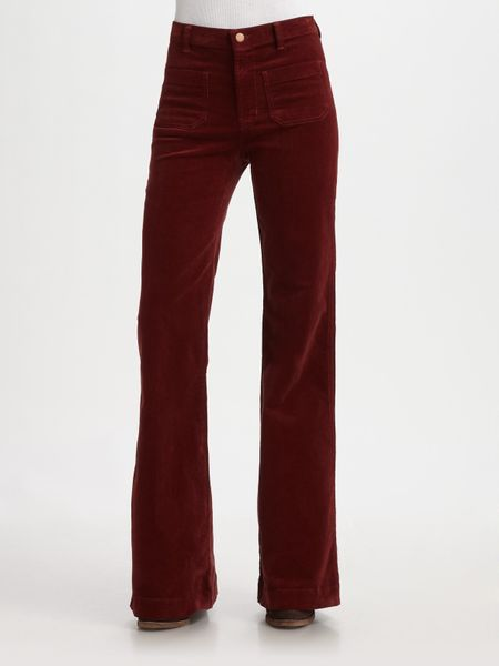 J Brand All High Rise Wideleg Corduroy Pants in Purple (merlot) - Lyst