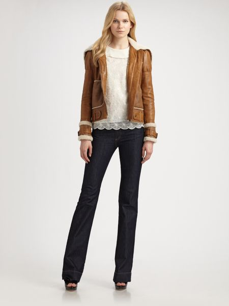Red Valentino Shearling Trimmed Leather Jacket in Beige (camel) | Lyst