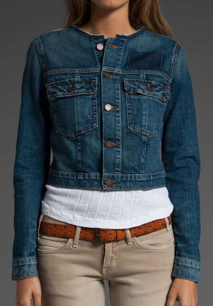Textile Elizabeth And James Collarless Sid Jean Jacket In