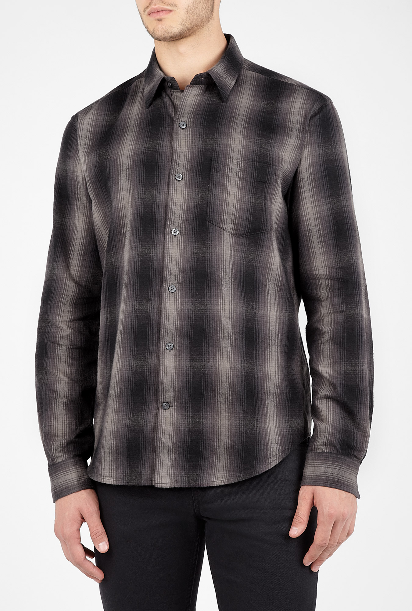 Vince Charcoal Ombre Plaid Flannel Shirt In Gray For Men