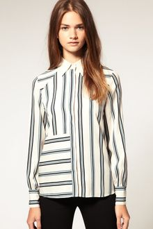 ASOS Collection Asos Stripe Contrast Collar Shirt - Lyst