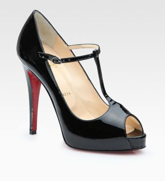 Christian Louboutin Patent Leather Peep Toe Pumps - Lyst