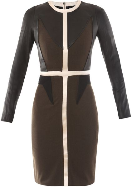Givenchy Leather and Wool Dress in Multicolor (multi) - Lyst