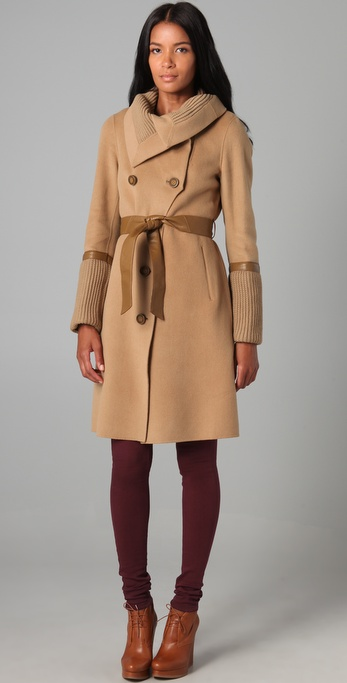 Mackage Leigh Chic Wool Coat in Natural | Lyst
