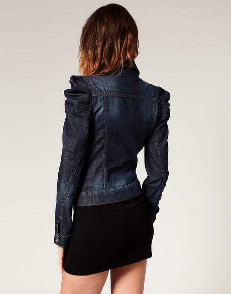 Miss Sixty Puff Sleeve Denim Jacket In Blue Denim Lyst