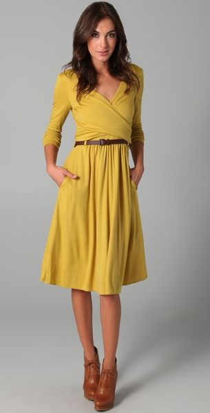 Tibi Wool Jersey Wrap Dress in Yellow | Lyst
