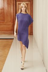 Reiss Silk Dress with Cascade Frill in Blue (royal blue) - Lyst