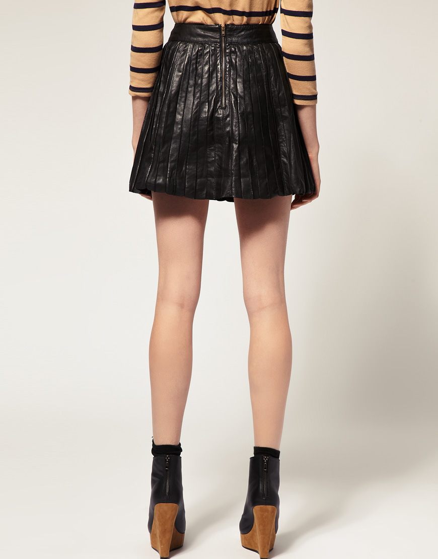 river island pleated leather mini skirt in black lyst