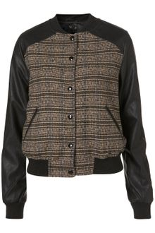 Topshop Faux Leather Check Bomber Jacket - Lyst