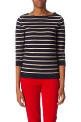 Boutique By Jaeger Merino Breton Stripe Sweater - Lyst