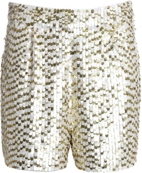 Reiss Sequin Short in Gold (cream/gold)