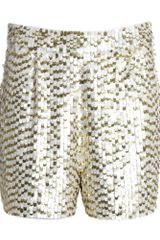 Reiss Sequin Short in Gold (cream/gold) - Lyst