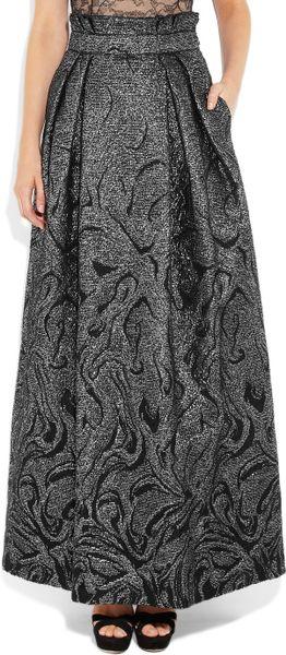 Alberta Ferretti High Waisted Brocade Maxi Skirt In Black