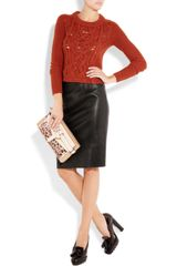 Burberry Stretchleather Pencil Skirt in Black - Lyst