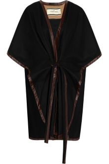 By Malene Birger Senalda Leather-trimmed Wool-blend Poncho - Lyst