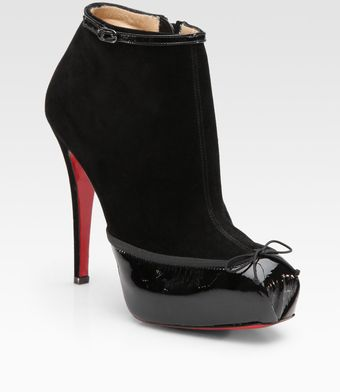 Christian Louboutin Suede and Patent Leather Ankle Boots - Lyst