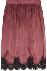 Dolce & Gabbana Silk-satin and Lace Skirt - Lyst