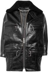 Junya Watanabe Shearling-trimmed Glazed-leather Jacket - Lyst