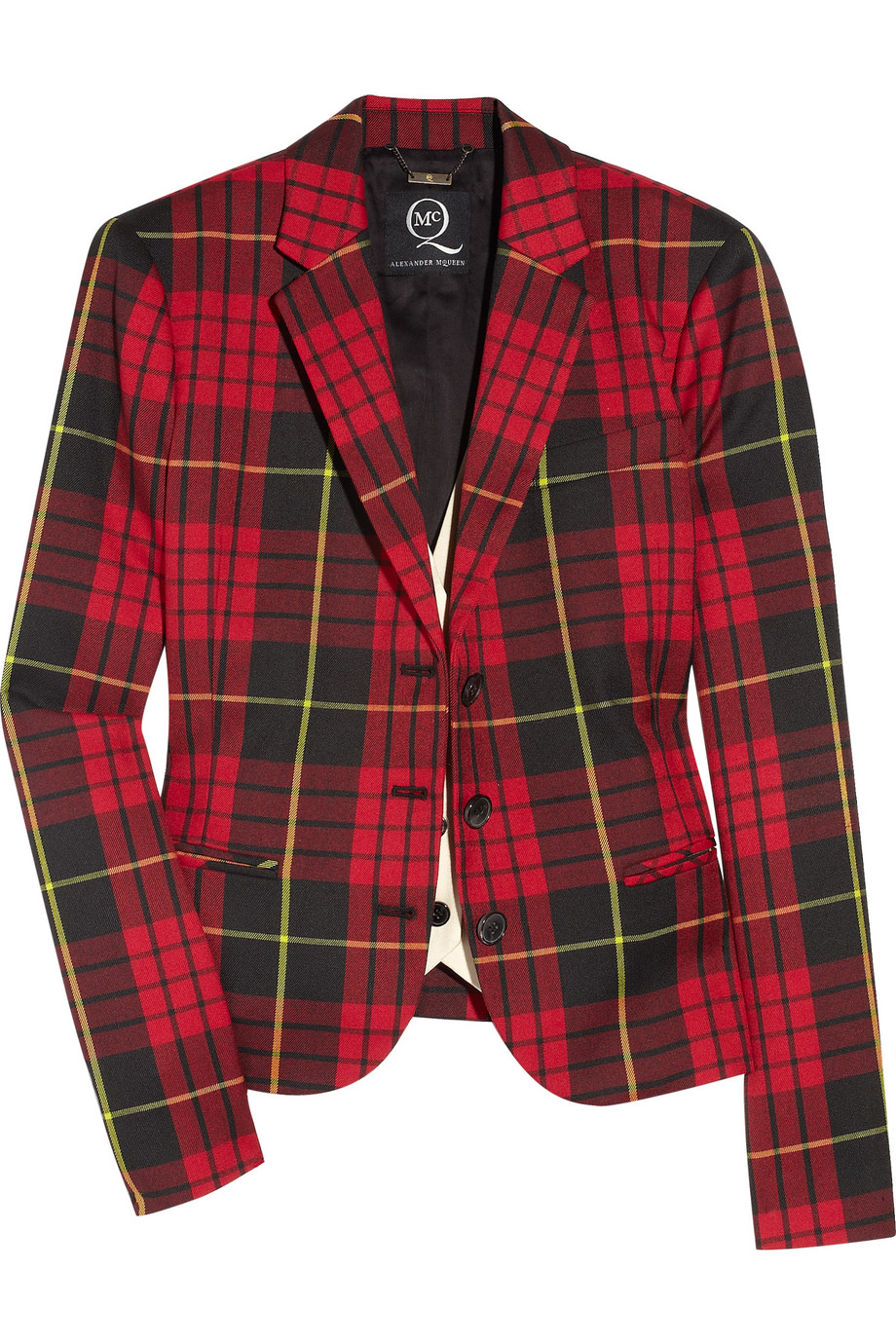 Mcq Tartan Plaid Blazer In Red Lyst