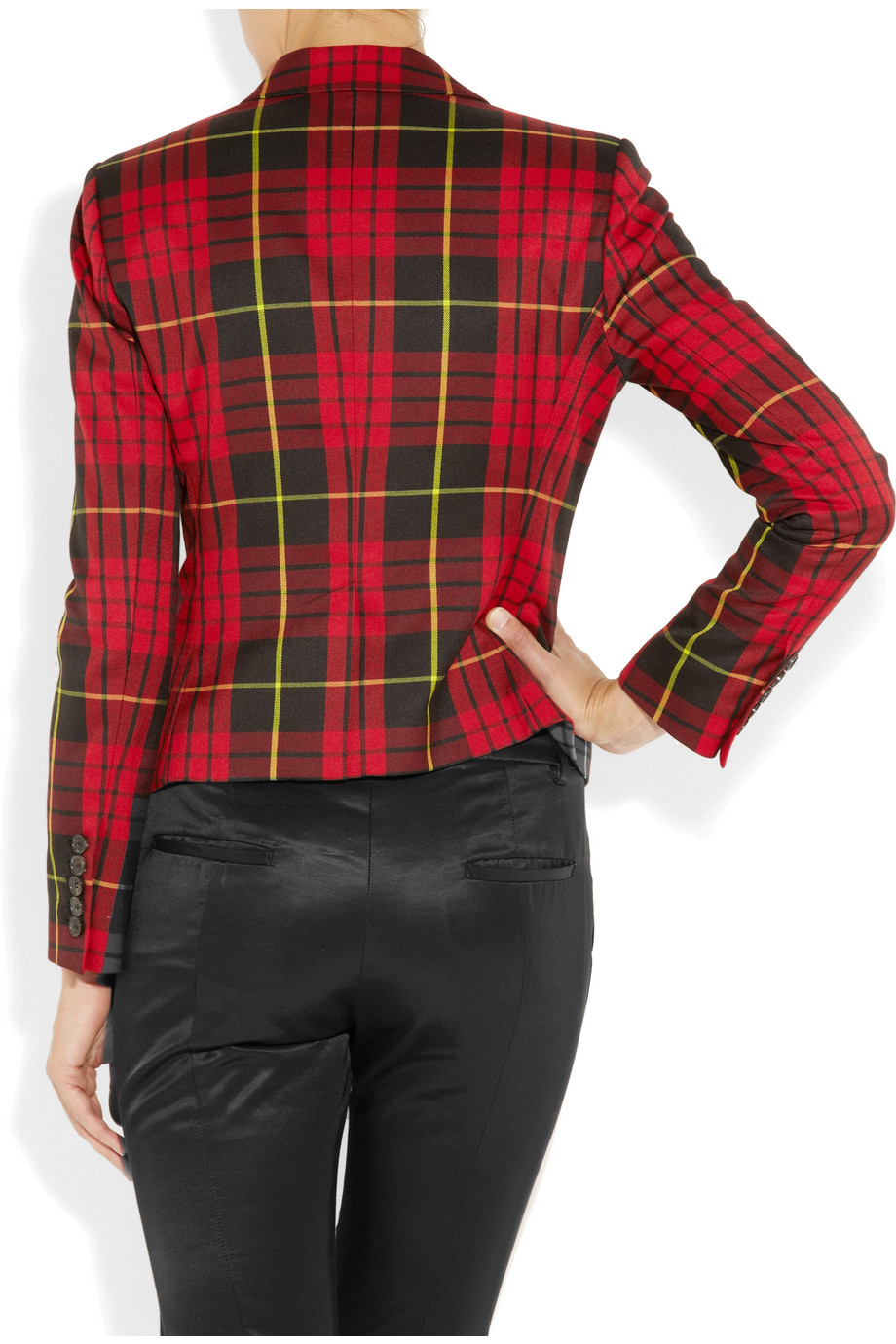 Mcq Tartan Plaid Blazer In Red Lyst