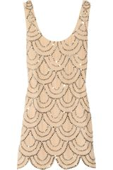 Rachel Gilbert Scala Beaded Silk Mini Dress in Pink (nude) - Lyst