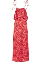 T-bags Blossom-print Satin Maxi Dress - Lyst