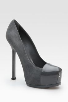 Yves Saint Laurent Ysl Trib Too Suede & Patent Leather Pumps - Lyst
