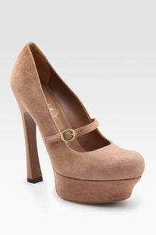 Yves Saint Laurent Ysl Palais Suede Mary Jane Platform Pumps - Lyst
