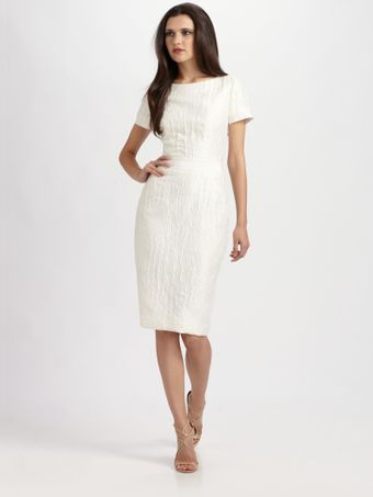 Carolina Herrera Textured Linen Dress - Lyst