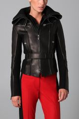 Viktor & Rolf Knit Collar Leather Jacket - Lyst