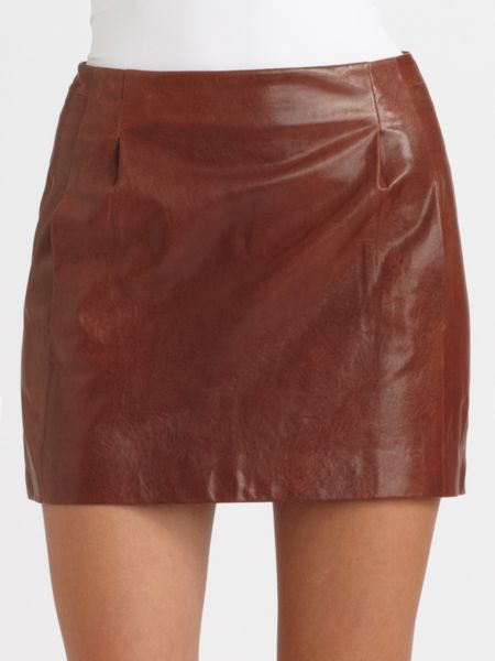 vince pleated lambskin leather mini skirt in brown