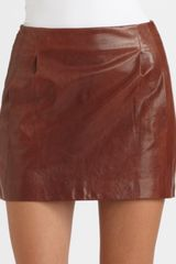 Vince Pleated Lambskin Leather Mini Skirt in Brown (bourbon) - Lyst