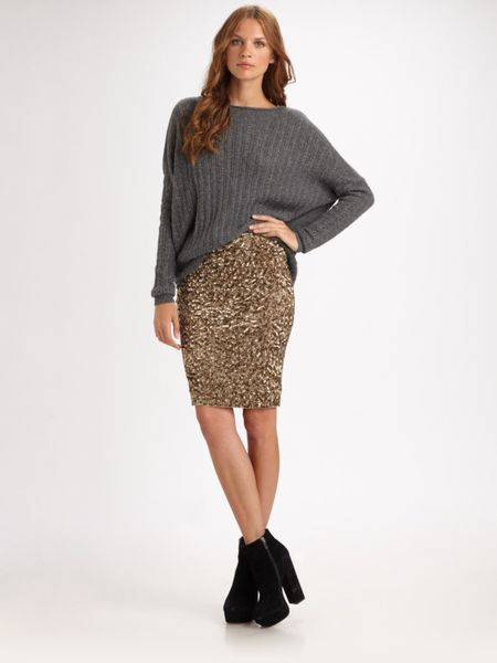 vince sequin pencil skirt in gold lyst