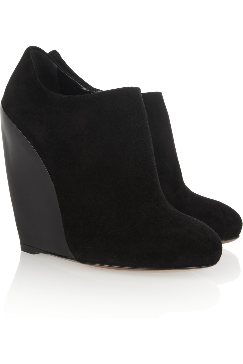 ala 239 a curved wedge suede ankle boots in black lyst