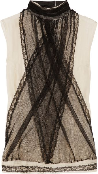 Bottega Veneta Silk-blend Chiffon and Tulle Top - Lyst