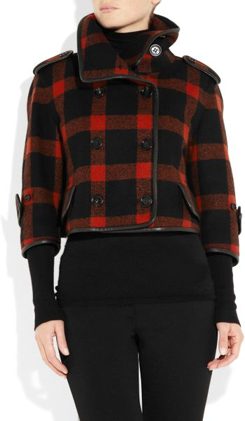 Burberry Prorsum Plaid Wool Blend Cropped Coat In Black