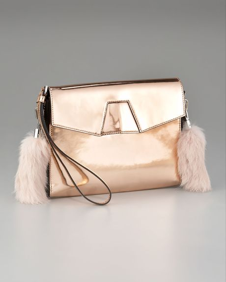 Alexander Wang Lydia Furdetail Clutch in Beige (blush) - Lyst
