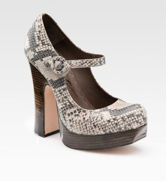 Alice + Olivia Reise Python-print Leather Mary Jane Pumps - Lyst