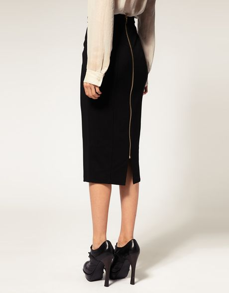 asos collection asos pencil skirt with zip back detail in